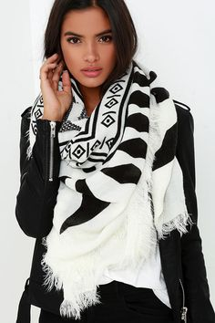 Forest Hymn Black and Ivory Print Scarf at Lulus.com!