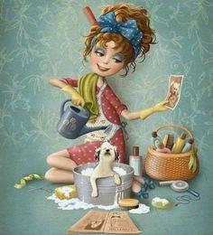 Manejemos los cambios con alegria y tranquilidad Old Lady Humor, Whimsical Art, Cute Illustration, Cartoon Art, Cute Drawings, Cute Art, Art Images, Art Girl, Watercolor Art