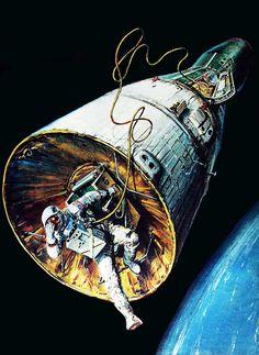 "Gemini 9A, Eugene (Gene) Cernan, US Astronaut "" Spacewalk (EVA) "" June 6, 1966… Space Shuttle, Eugene Cernan, Project Gemini, Gemini Art, Nasa Space Program, 70s Sci Fi Art, Space And Astronomy, Space Age, Space Travel"