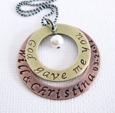 God Gave Me You - Wedding Necklace - Mixed Metal - Sterling Silver Brass Copper - Hand Stamped