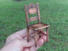 Country style chair made from Cherry wood. Various carvings. I am now taking orders for country cottage chairs to be started in February. By Lynn Jowers of Miniatures Perfectly Small. https://www.etsy.com/shop/LynnJowers?ref=hdr_shop_menu