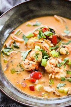 Ready in just 30 minutes, Shrimp Coconut Curry Soup is a richly flavored main dish soup that's easy enough for any night of the week. | lisasdinnertimedish.com