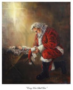 I absolutely love this! I have a music box that I put in my room every Christmas that has Santa kneeling next to baby Jesus on top.
