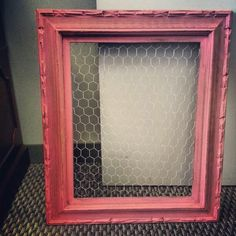 Painted frame with homemade chalk paint - add chicken wire - cute bow holder using clothes pins...