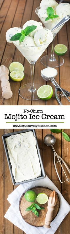 Cool down this summer with this easy to make no-churn mojito ice cream flavoured with lime, mint and plenty of rum.