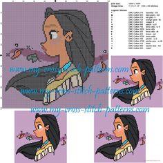 Cross stitch patterns for children. Just Cross Stitch, Beaded Cross Stitch, Cross Stitch Embroidery, Pocahontas, Hama Beads Disney, Perler Beads, Stitch Disney, Diy Broderie, Disney Cross Stitch Patterns