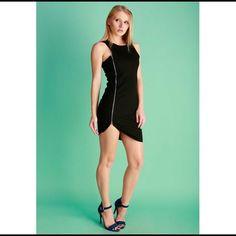 Large Fitted Mini Club Little Black Zipper Dress