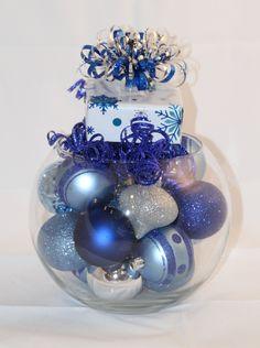 Christmas Bubble Bowl Centerpiece Blue and by GlitterGlassAndSass #glitterglassandsass