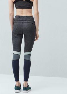 Fitness & running - panel contrast leggings   MANGO