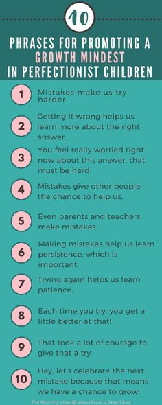 Have a perfectionist children? Trying to validate their fears and frustrations can be challenging. Try these phrases to promote a growth mindset for your little perfectionist! Kids And Parenting, Parenting Hacks, Parenting Classes, Parenting Styles, Single Parenting, Parenting Goals, Mindful Parenting, Peaceful Parenting, Parenting Quotes