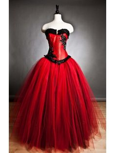 Blood Red and Black Romantic Gothic Emo Corset Long Prom Gown - £105.30