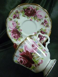4:00 Tea...Royal Albert...Fancy Teacup and Saucer from the Summer Bounty Series with Pink and Ruby Roses