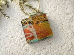 Golden Copper Red Dichroic Glass Necklace Dichroic by ccvalenzo