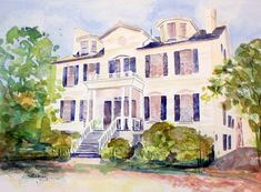 Laura Trevey watercolors - House Portrait Giveaway!