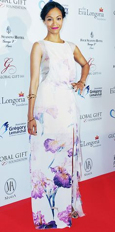 Zoe Saldana served up a pretty floral look (how apt for the month of May!) in a printed silk chiffon Nina Ricci maxi, complete with bangles and nude strappy Christian Louboutin heels.