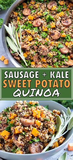 Sweet potatoes, chicken apple sausage, and kale combine to form one of the best and easiest quinoa bowl recipes. All of the ingredients are cooked in one pot, or skillet, to make a healthy quinoa recipe that is full of sage and savory Fall flavors! Clean Eating Recipes, Healthy Eating, Cooking Recipes, Healthy Recipes, Quinoa And Kale Recipes, Quinoa Meals, Dinner Healthy, Quinoa Salad, Easy Quinoa Bowl