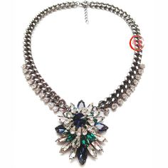 2014 NEW women Fashion shourouk crystal green pendant necklace statement necklace & pendant 66g A2304 $9.50