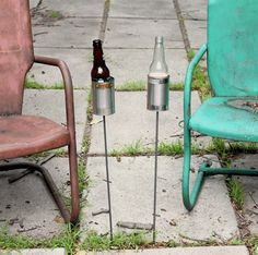 Brilliant! Why didn't I think of this???  2 Hobo Tin Can Beer Holders/ Garden Drink Holders.
