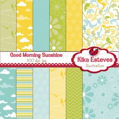 "Good Morning Sunshine Papers - Digital Clipart    12 High Resolution 300dpi JPEG papers  Each digital clipart image size is: 12"" x 12""     You can use them for: embroidery, scrabooking, photograph, background, card design, invitations, stickers, jewelry, paper crafts, web design, and a lot more."