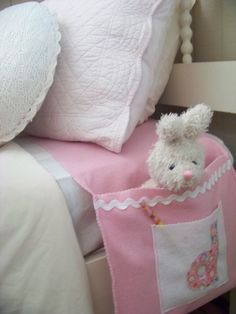 """Pocket Pal Runner ~ place under the mattress on the box springs so it can't slip. Great place to store a flashlight, books, and other """"things"""" kids need to have close at hand! Great idea... and cute too!"""