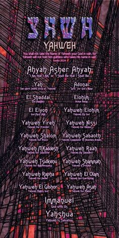 The names of God. I pray this blesses you.  Amen.