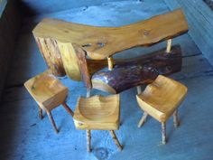 Vintage Miniature Furniture Rustic Bar and Stool Set Folk Art Handmade Retro Wooden Table and Chairs. $22.00, via Etsy.