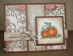 Huntington Paper. SOTM Fall Favorites 2012. This card is done on an A2 base of Barn Red. The mats are sponged with Cashmere and the pumpkin has been stamped with Archival Black and colored with my CTMH Alcohol Markers. The card is also embellished with Bitty Pearls and Grey Twine.