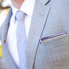 Brides.com: A California Wedding with a Lavender and Gray Color Palette. Brad paired a gray Indochino suit with a purple tie from Theory.