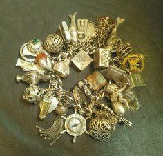 Vintage large charms bracelet 209 g