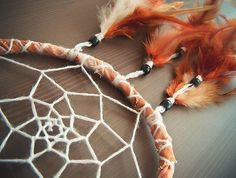 Dream Catcher - Close to the Nature - With Natural Brown Feathers and Hand Painted Brown Frame - Home Decor, Nursery Mobile