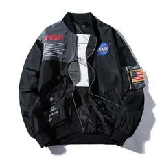 NASA Bomber Jacket - Nasa Windbreaker Streetwear Clothing Hypebeast Jacket - Mugen & Soul Inc Nasa Bomber Jacket, Black Bomber Jacket, Gray Jacket, Vintage Bomber Jacket, Camouflage Jacket, Nasa Clothes, Lightweight Jacket, Kind Mode, Look Cool