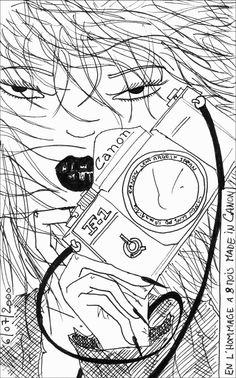 Gerald Ligonnet - the photographer 2, Black & white drawing  #art #drawing #illustration #blackandwhitedrawing