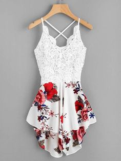 In love with this romper! Shop Crochet Lace Panel Bow Tie Back Florals Romper online. SheIn offers Crochet Lace Panel Bow Tie Back Florals Romper & more to fit your fashionable needs. Teenage Outfits, Teen Fashion Outfits, Mode Outfits, Outfits For Teens, Girl Outfits, Womens Fashion, Fashion Trends, Fashion Dresses, Fasion