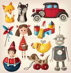 Vintage toys for kids. Set of colorful vintage christmas toys for kids , Christmas Scenes, Christmas Toys, Vintage Christmas, Toy Art, Art Jouet, Old Fashioned Toys, Easter Toys, Cartoon Toys, Kids Vector