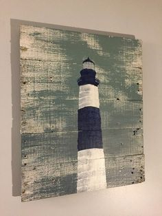 Nautical Decor Light House Blue and White  20 x by WoodburyCreek