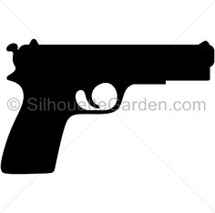 Pistol silhouette clip art. Download free versions of the image in EPS, JPG, PDF, PNG, and SVG formats at http://silhouettegarden.com/download/pistol-silhouette/