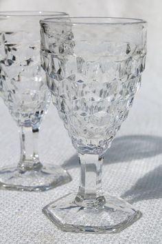 vintage crystal clear Fostoria wine glasses, American cube pattern w/ hexagonal foot