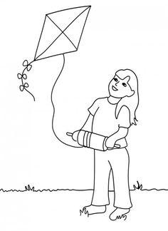 Color The Kite Flying Scene Ashita Pinterest Drawing For Kids