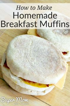 Make Homemade Breakfast Muffins with these step by step instructions. No need to hit the drive through when you have these delicious breakfast muffins ready to pop into the microwave for a quick, easy meal on the go. Breakfast Toast, Breakfast On The Go, Quick And Easy Breakfast, Make Ahead Breakfast, Quick Easy Meals, Easy Breakfast Muffins, Microwave Breakfast, Healthy Bread Recipes, Banana Bread Recipes