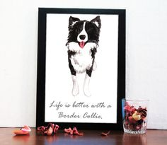 Customized Border Collie Art Print-Personalized Dog by hopnbounce