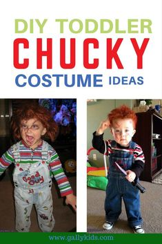 Toddlers Chucky costume for Halloween. Some may find it creepy but some find the humor in it. Creepily funny and cute! Funny Toddler Costumes, Toddler Boy Halloween Costumes, Kids Costumes Girls, Toddler Humor, Scary Costumes, Chucky Halloween, Halloween Stuff, Halloween Halloween, Vintage Halloween