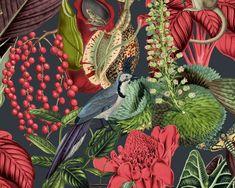 RW111 Quirky Wallpaper, Bird Wallpaper, Room Wallpaper, Damasks, Botanical Illustration, Designer Wallpaper, Past, Plant Leaves, Birds