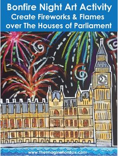 Bonfire Night Fireworks and Flames / Guy Fawkes Art Activity Bonfire Night Guy Fawkes, Guy Fawkes Night, Art Activities For Kids, Creative Activities, Art For Kids, Fireworks Craft For Kids, Fireworks Art, Firework Poems, Bonfire Night Crafts