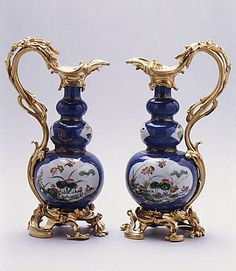 Triple gourd vases 18th century Chinese with French mounts