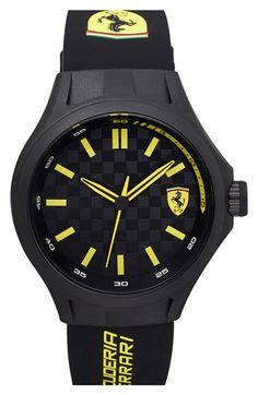 Men's Scuderia Ferrari 'Pit Crew' Silicone Strap Watch