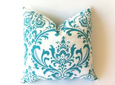 Teal Damask Pillows 18x18 inches Teal Cushion Covers Teal Accent Pillows