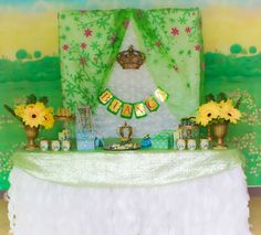 Pretty dessert table at a Frozen Fever birthday party! See more party ideas at CatchMyParty.com!