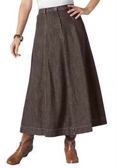 31ee8d22f77bd Plus Size Long Denim Skirt Trendy Plus Size Fashion