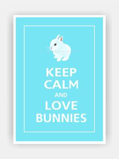 Keep Calm and LOVE BUNNIES Cute Baby Bunny Print 5x7 by PosterPop, $7.95