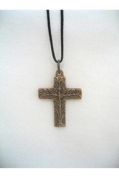 Bronze Tree of Life Cross Pendant